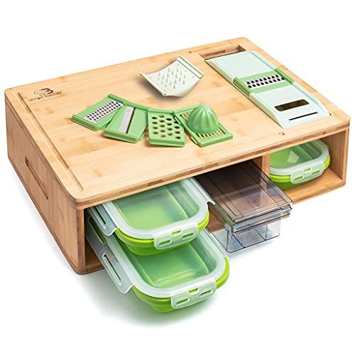 Bambus-Schneidebrett mit Tabletts und Deckeln Multifunktional: Kommt mit 4 verschiedenen Hobeln und 4 Schubladen, kann als Vorbereitungsgeschirr oder zur Aufbewahrung verwendet werden.
