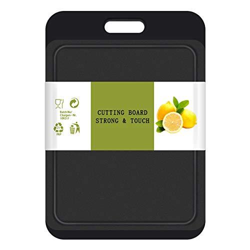 SOSECCE Kunststoff Schneidebrett mit Saftrillen und rutschfeste Griffe, Antibakteriell, Spülmaschinenfest,Kann für Fisch, Fleisch, Gemüse, Obst,BPA Frei(Schwarz+Grau)