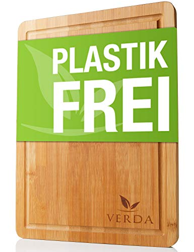 VERDA®️ Bio Bambus-Schneidebrett - 40x30x2cm Großes und Extra Dickes Bambus-Schneidebrett - In Handarbeit Gefertigt & Poliert in Premium Qualität - Komplett Plastikfreies Holz-Brett mit Saftrille