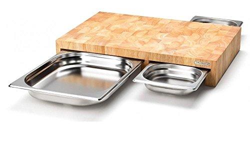 Continenta Multifunktions- Schneidebrett aus Holz, mit 3 Edelstahl-Schubladen, 50 x 32,5 x 8cm