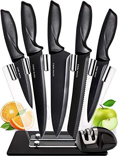 HOME HERO 7-TLG Messerset Edelstahl Messer Set - Küchenmesser Set Acryl Messerblock mit Messer Scharf und Spitzer - Kochmesser Profi Messer - Kitchen Knife Set Chef Knife