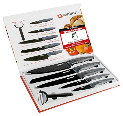alpina 6 teiliges Messer-Set Brot, Fleisch, Allzweck, Schäler und Santoku-Messer - Inklusive Sparschäler - Ideal für die Profiküche und auch semiprofessionelle Küche