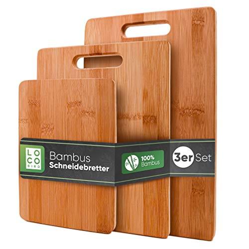 Loco Bird massive Bambus Schneidebretter 3er Set - 33x22cm / 28x22cm / 15x22cm - Holz-Brett für die Küche - Holzschneidebrett - Antibakterielles Schneidebrett aus Holz