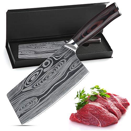Theexecva Hackmesser Fleischerbeil 7 Zoll Deutsch Hochgekohlter Edelstahl Hackbeil Messer, professionelles Chinesisches Kochmesser Hochleistungsklinge für Küche und Restaurant (Meat Knife)